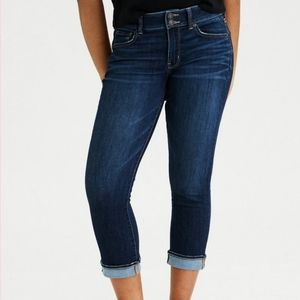 AEO Artist Crop Stretch Jeans Double Button